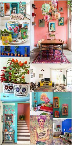 Interior Design For Bathroom Boho Glam Home, Mexican Style Decor, Mexican Kitchen Decor, Mexico House, Colourful Living Room, Mexican Designs, Mexican Interior Design, Spanish Revival, Home And Deco