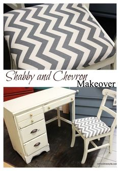 Chevron, Yellow and Gray Desk Refresh - Welcome to reFresh reStyle! Would love to find a desk similar, for the big girls room...and put a mirror on top for a desk/vanity, the girls want a vanity so bad!