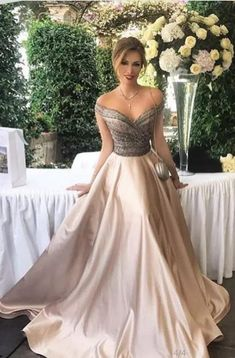 764f8d1fc7c7 Off The Shoulder Champagne Long Prom Dresses Evening Dresses For Women With  Beaded