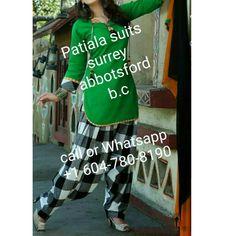 Green kurta with check full patiala salwar call or whatsapp +1 604-780-8190