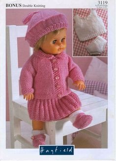 Herbie's Doll Sewing, Knitting & Crochet Pattern Collection: Vintage Hayfield Knitting Pattern Number 3119 For 12 inch to 22 inch Baby Dolls