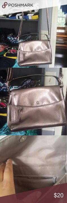 Metallic lilac cross body bag Style dupe for the late spade little Minka bag. So cute. Looks small but holds alot. Fold over flap is also a compartment. Kate Landry Bags Crossbody Bags