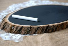 Tree Slice Chalkboard - Rustic Wedding Decor, Chalkboard Sign For Wedding, Wood Slice Chalkboard, Rustic Wedding on Etsy, $25.00