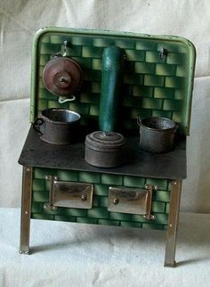 Antique Tin Toy Dollhouse Stove with Pots