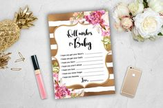 Well Wishes for Baby Shower Game Words Girl Pink Gold White Spade Stripes…
