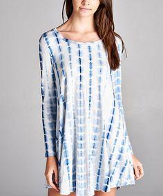Love this Love, Kuza Blue & Ivory Tie-Dye Shift Dress by Love, Kuza on #zulily! #zulilyfinds