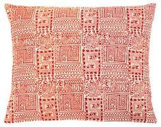 Temple 16x20 Cotton Pillow, Orange/Red