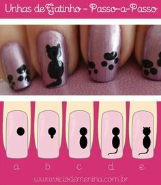 Unhas decoradaspasso a passo nail art in 2019 nail art, a Cat Nail Art, Animal Nail Art, Cat Nails, Nail Art Diy, Cat Nail Designs, Short Nail Designs, Nail Drawing, Nail Art For Kids, Nagellack Design