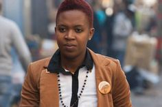 IDAHOT 2013, Johannesburg. Nthabiseng Mokoena of Transgender and Intersex Africa (TIA) on her way to Carlton Centre to join the flashmob.