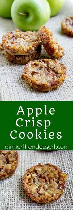 Apple Crisp Cookies with a pie crust bottom, sweetened spiced apples and a brown sugar and oat crust. All the fun of crisps and pies with just enough filling to make you feel like you're being healthy (Apple Recipes Puff Pastry) Apple Desserts, Köstliche Desserts, Apple Recipes, Fall Recipes, Cookie Recipes, Delicious Desserts, Dessert Recipes, Yummy Food, Caramel Apple Cookies