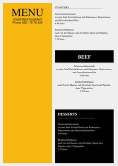 This Flyer is ideal for a Steak House or BBQ Restaurant Menu. Eeasy to personalize! Just replace titels with your Text, change descriptions & prices.