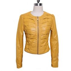 Elegant Scoop Neck Zipper Design Long Sleeves Column Imitated Leather Multicolor Women's Jacket  $25.91
