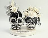 MINI cake topper Skull black & white weddings handmade Crown of flowers bride and groom MST0001. $65.00, via Etsy.