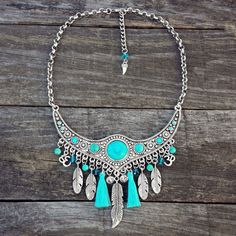 Boho Necklace, Feathers Necklace, Silver Turquoise Blue, Tassels, Om, Crystals, Beads, Stainless Steel Chain, Bohemian, Gypsy, Hippy, Ethnic