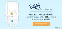 #paytm Rs.10 #cashback on #recharge of Rs.60 or more