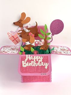 21st Birthday Cards, Dog Birthday, Happy Birthday, Box Cards Tutorial, Card Tutorials, Exploding Box Card, Birthday Sentiments, Pop Up Box Cards, Anna Griffin Cards
