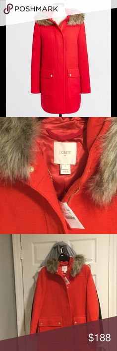 NWT❣ J. Crew wool parka w/ hood. BRAND NEW!! NWT❣ J. Crew wool parka w/ hood. BRAND NEW with tags!! This is so stylish and warm. It is totally sold out. It's a size 0 but as usual with J. Crew coats it runs a size larger (in my opinion like a size 2). Faux fur hood. Pockets. Color is electric red. Fast shipping 📫 and you can rest assured, I have excellent ratings. 😊 You'll  love this coat! Price firm!! J. Crew Jackets & Coats