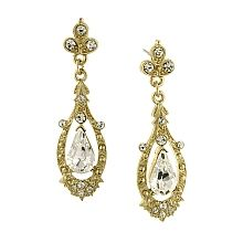 Downton Abbey Gold Tone Crystal Edwardian Pave Drop Earrings with Large Pear Shaped Center - shopPBS.org