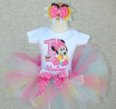 *Girls Baby Minnie Mouse Pastel Popsicle With Mouse Ears Hairbow Quick Ship Tutu Set