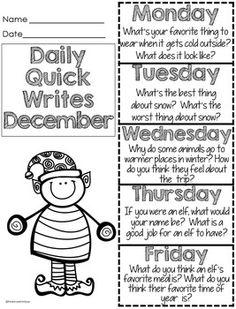Christmas Writing Prompts for December Christmas Activities Kindergarten Writing, Teaching Writing, Writing Activities, Literacy, Teaching Kids, Work On Writing, Writing Workshop, Writing Ideas, Creative Writing