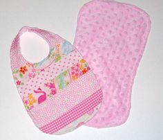 Pink Patchwork Baby Bib and Burp Cloth by daydaysdesigns on Etsy, $18.00