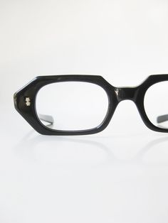 7a7d734327bc 1950s Reading Glasses Vintage Black Octagonal Geometric Angular Womens  Ladies Eyeglasses 50s Sexy Librarian Optical Frames Noir Midnight