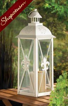 10 Centerpiece Fleur De Lis White Pillar Candle Lantern