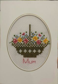 Handmade cross stitch mother's day card