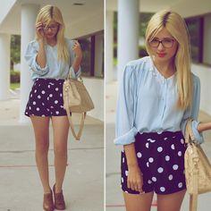Forever 21 Polka Dot Shorts, Thrifted Blue Blouse
