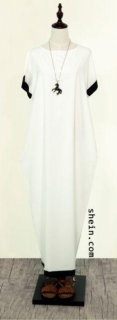 White Black Trim Contrast Pockets Long Dress