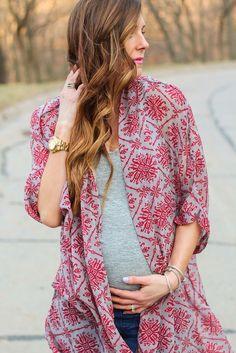 Printed kimono--great maternity layering staple