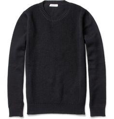 ValentinoWaffle Knit-Front Wool Sweater|MR PORTER