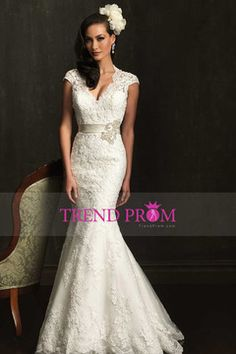 2014 V Neck Open Back Mermaid/Trumpet Wedding Dress With Lace Skirt And Ribbon $299.99 TDP9MH464P - TrendProm.com