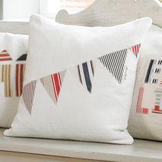 Vintage Linen Bunting Cushion - CoastalHome.co.uk: Coastal Living