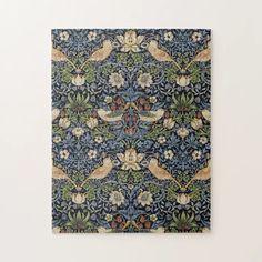 William Morris Strawberry Thief Jigsaw Puzzle | Zazzle.com Victorian Pattern, B Rain, Puzzle Art, William Morris, Vintage Art, Jigsaw Puzzles, Strawberry, Tapestry, Pattern Illustrations