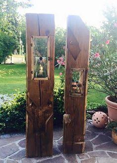 #Holzlaternen #Altholz Holzlaternen aus alten Balken in Handarbeit gefertigt!  Zwei wunderschöne Unikate mit Holznägel!!