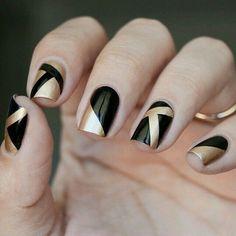 gold, nails, and black image
