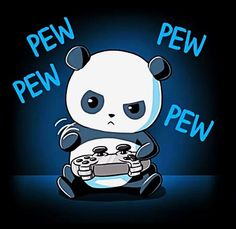 He may have tiny paws, but he's not just button mashing. Get the Pew Pew Panda t-shirt only at TeeTurtle! Panda Wallpapers, Cute Wallpapers, Cute Animal Drawings, Cute Drawings, Cute Panda Drawing, Panda Kawaii, Chibi Panda, Images Kawaii, Panda Mignon