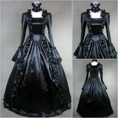 Kayla - Vampire Goth Unique Vintage Retro Wedding Gown Ball Duchess High Profile Medieveal Society $200 via @Shopseen