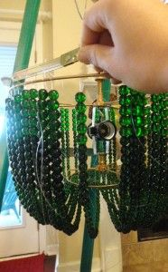 My homemade chandelier using strings of pearls, crystals and an ...