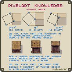 How to define the viewing angle in isometric pixel art by Cyangmou on DeviantArt Digital Painting Tutorials, Digital Art Tutorial, Art Tutorials, How To Pixel Art, 2d Game Art, 2d Art, Pixel Animation, 8bit Art, Pixel Art Games