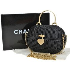 Pre-owned Chanel Rare Cc Chain 2way Black Rattan Cross Body Bag ($12,000) ❤ liked on Polyvore featuring bags, handbags, shoulder bags, none, black crossbody handbags, crossbody handbags, black chain shoulder bag, chanel shoulder bag and chain shoulder bag