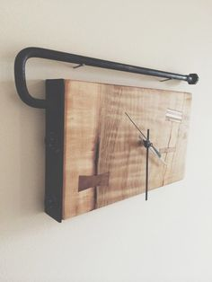 Slab and steel wall clock with inlays Wood Steel, Steel Wall, Clock, Watch, Clocks, The Hours