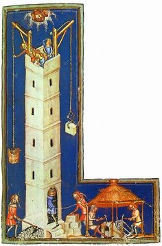 German Late Medieval (ca. 1370s) depiction of the construction of the Tower of Babel.