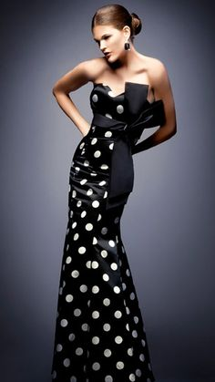 Long Strapless evening Black and White Polka Dot Satin Dress   (with Large Black Bow Detail).  www.prettyandpoor.com