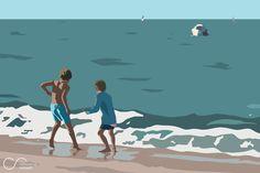 Original Kids New Media by Clemence Renault Fine Art, Buy Art, Illustration, Seaside, Art, Digital Painting, Original Art, Saatchi Art, Figurative Art