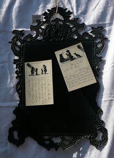Magnettafel nostalgisch vintage, Landhaus Shabby schwarz /grau, Romantisch