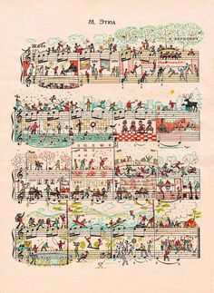 Illustration on sheet music by People Too.
