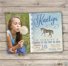 Printable Photo Rustic Lace Horse Birthday Invitations Shabby Chic Country Brown Cowgirl Theme Party girl Rustic Modern Download Blue