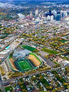 Eskimo's home in Edmonton 📷 credit O Canada, Alberta Canada, Canadian Football League, Canada Images, Football Stadiums, City Landscape, Quebec City, Travel Goals, Aerial View